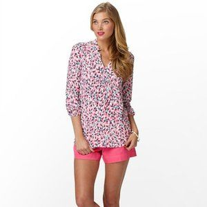 Lilly Pulitzer   Joycee Pink White Floral Blouse S